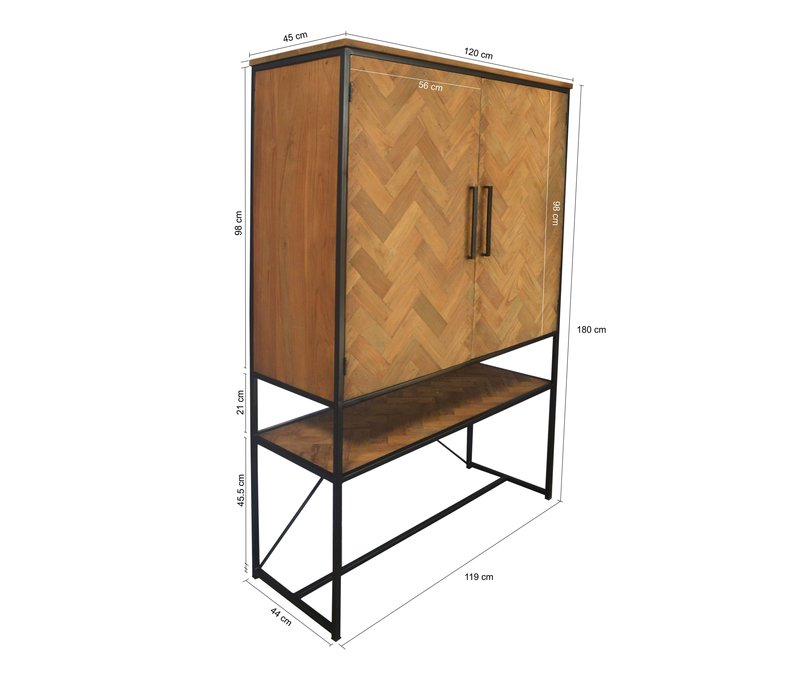 Wandkast CAB Accent 120cm recycled teak