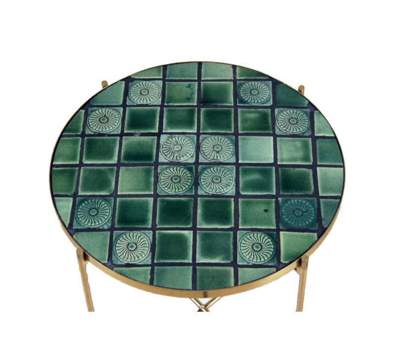 Bijzettafel  Girardot Ø34 cm groen antiek brons