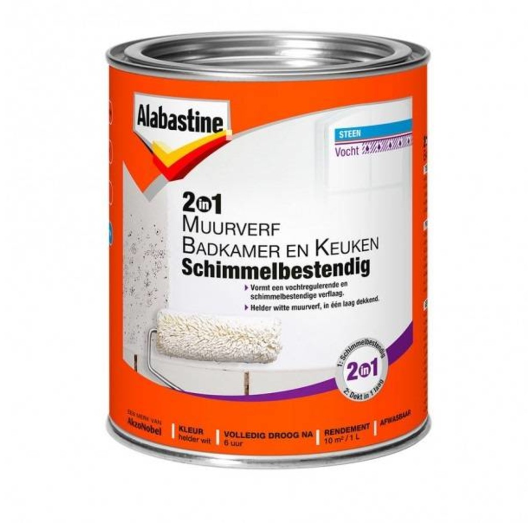 Alabastine Alabastine 2in1 muurverf badkamer en keuken schimmelbestendig 1 Liter