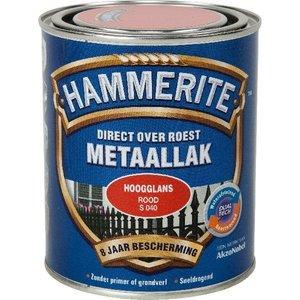 Hammerite Hammerite Metaallak hoogglans S040 rood 750ML