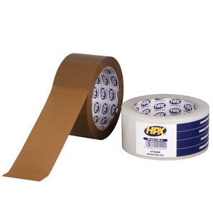 HPX tapes HPX Verpakkingstape 50mm x 66 meter bruin/ transparant