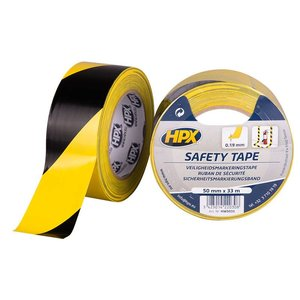 HPX tapes HPX Safety tape - zelfklevende markeringstape - geel/zwart - 50mm x 33 meter