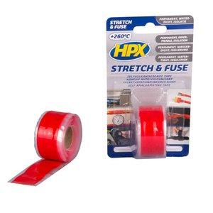 Hpx HPX Stretch & Fuse valkaniserende tape 25mm x 3meter rood SO2503