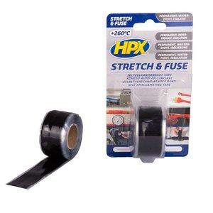 HPX tapes HPX Stretch & Fuse valkaniserende tape 25mm x 3meter zwart SZ2503