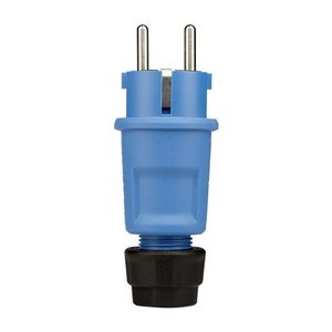 ABL ABL PVC stekker met wartel + randaarde blauw