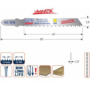 Wilpu Wilpu Decoupeerzaagblad HC19Rbi laminator 5 stuks - 510.0021