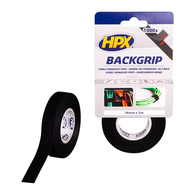 Hpx HPX Backgrip - kabelbinderband - 16 mm x 5 m zwart - BG1605