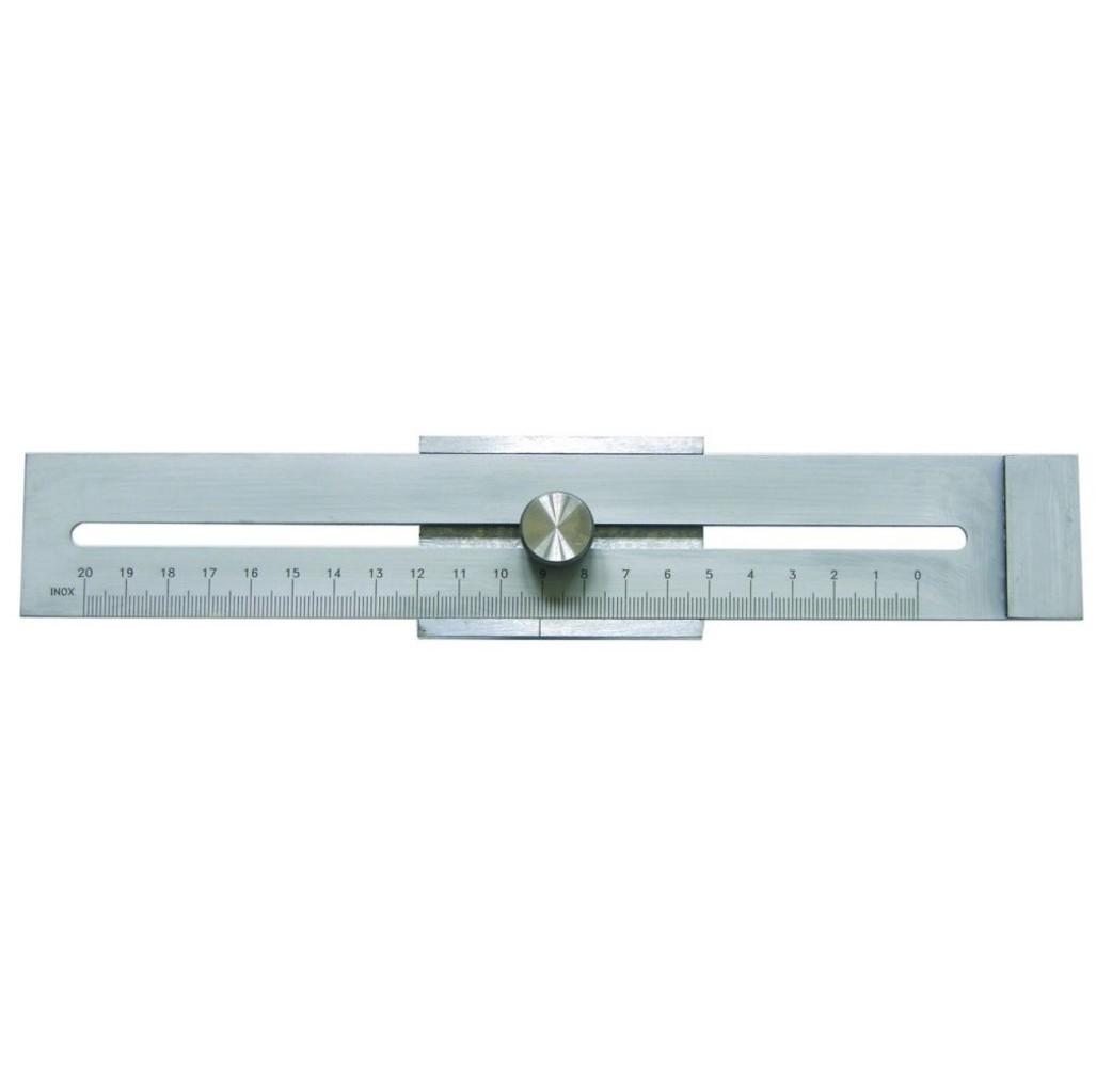 Afschrijfliniaal 200 mm - staal