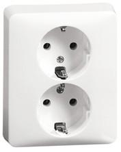 Peha Peha Wandcontactdoos wit inbouw 2-voudig - met randaarde - H80.6512WW
