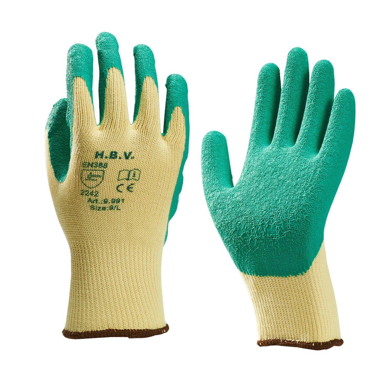 HBV HBV 9.991 Handschoen - latex gecoat - groen / geel