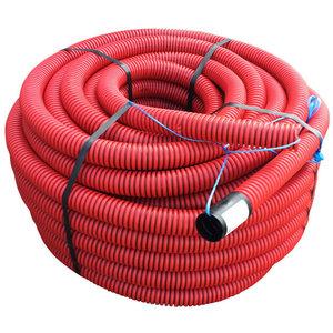 Kabelbeschermingsbuis - mantelbuis met trekkoord -  rood/zwart