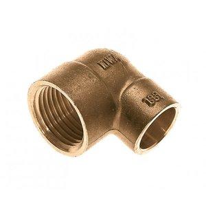 """Bonfix Bonfix 81541 Messing Soldeer knie 90° lang - 1/2"""" binnen x 15 mm"""