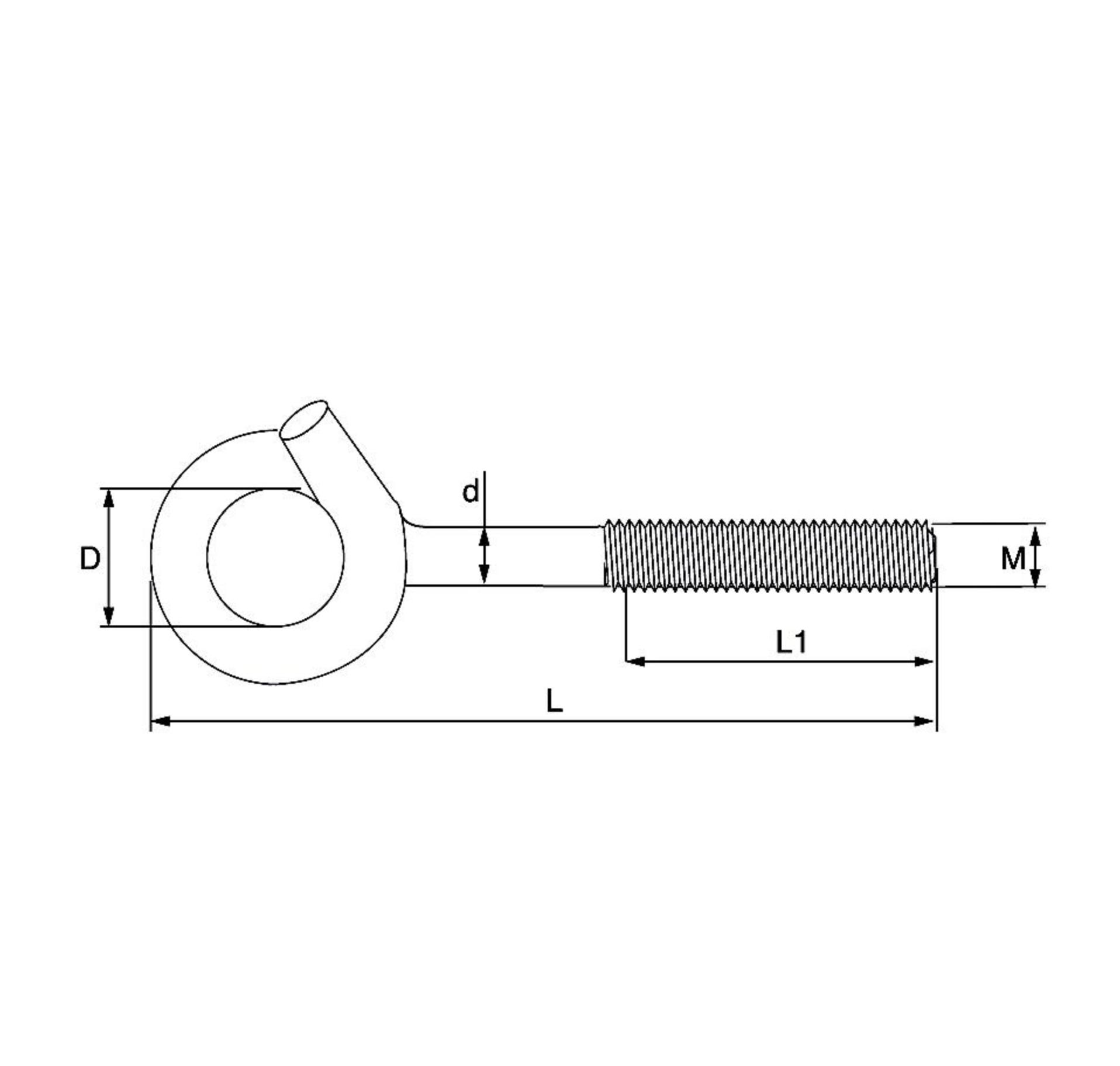 Dulimex Dulimex schommelhaak - bevestigingshaak M10x145 mm - metrische draad - verzinkt - 375-10E