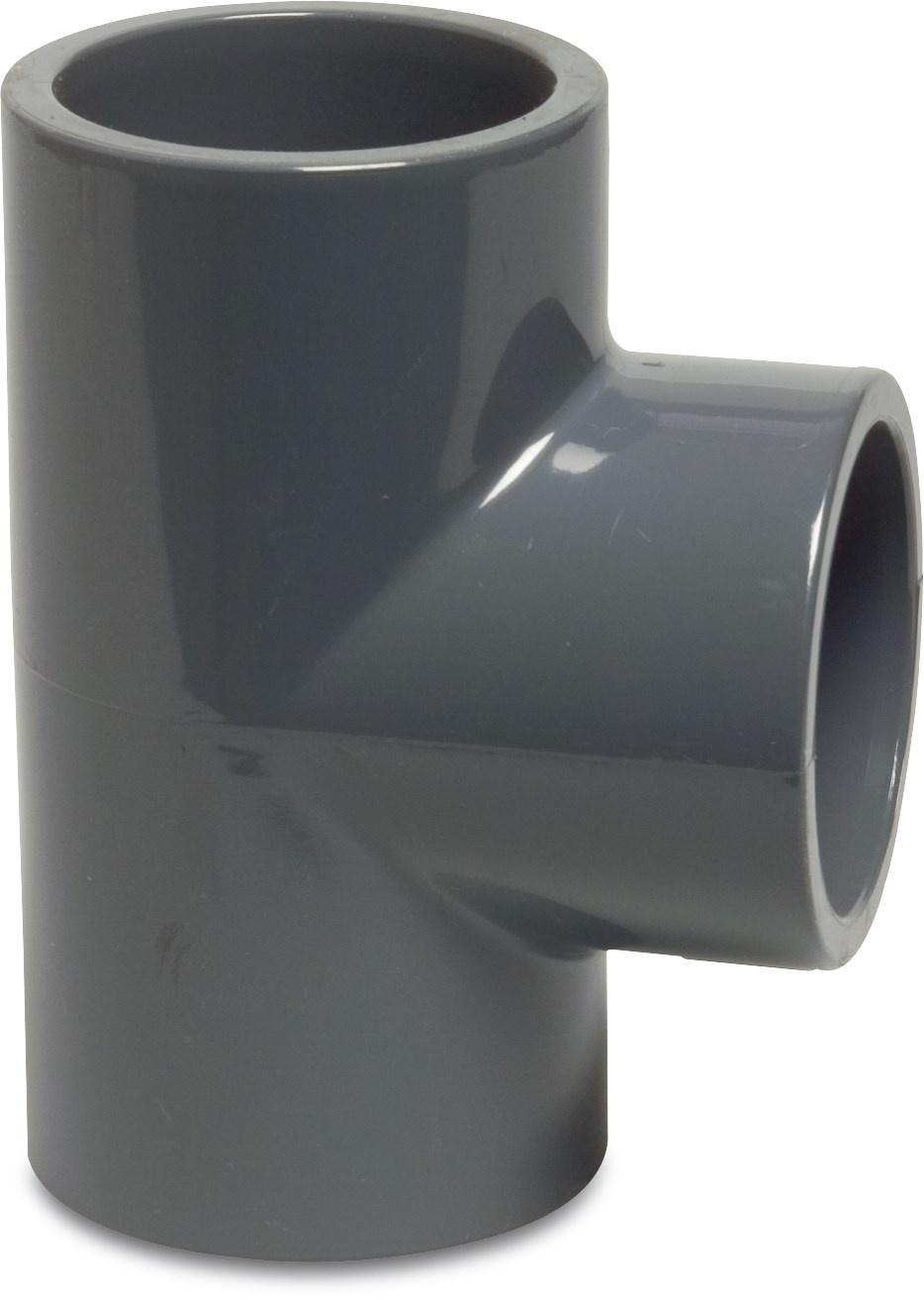 PVC T-stuk 90° druk Ø20 t/m Ø125 mm - 16 bar