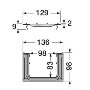Afvoergoot - lijngoot Connecto 100 met gegalvaniseerd sluifrooster - 1