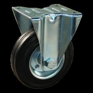 Protempo Bokwiel 125 mm met plaat - serie 02-12 - staal verzinkt - rubber