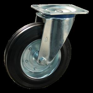 Protempo Zwenkwiel 160 mm met plaat - serie 02-12 - staal verzinkt - rubber