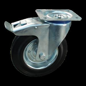 Protempo Zwenkwiel 125 mm geremd met plaat - serie 02-13 - staal verzinkt - rubber