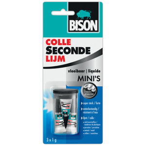 Bison Bison Secondelijm Mini's vloeibaar in box - 3x1 gram