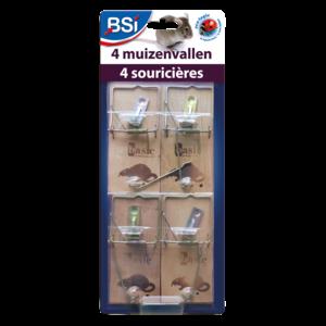 Bsi BSI Houten muizenvallen - 4 stuks - 64082