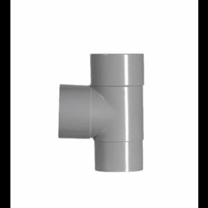 HWA PVC T-stuk 90° - grijs - 2x mof x 1x verjongd