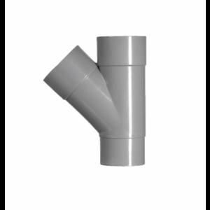 HWA PVC T-stuk 45° - grijs - 2x mof x 1x verjongd