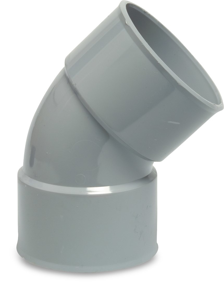 PVC Bocht 45° - Ø40 t/m Ø125 mm - 2x inwendig lijm