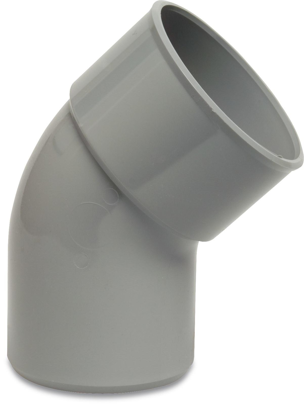 PVC Bocht 45° - Ø40 t/m Ø125 mm - 1x inwendig lijm