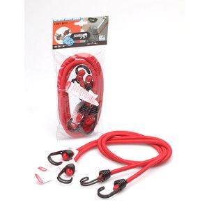 Jumbo products Jumbo Bagagebinder 100 cm - dubbelgevouwen haken - rood - 2 stuks