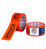 HPX tapes HPX Verpakkingstape breekbaar/ fragile - 50mm x 66 meter - oranje - VF5066