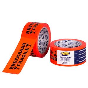 HPX tapes HPX Verpakkingstape breekbaar/ fragile - 50mm x 66 meter - oranje - VF5066