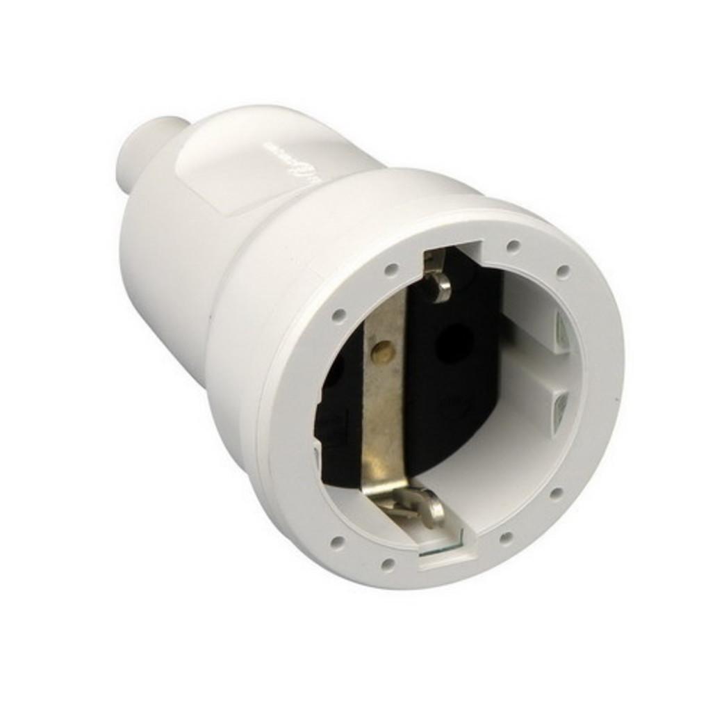 ABL ABL PVC rechte contrastekker + randaarde - wit - 33106