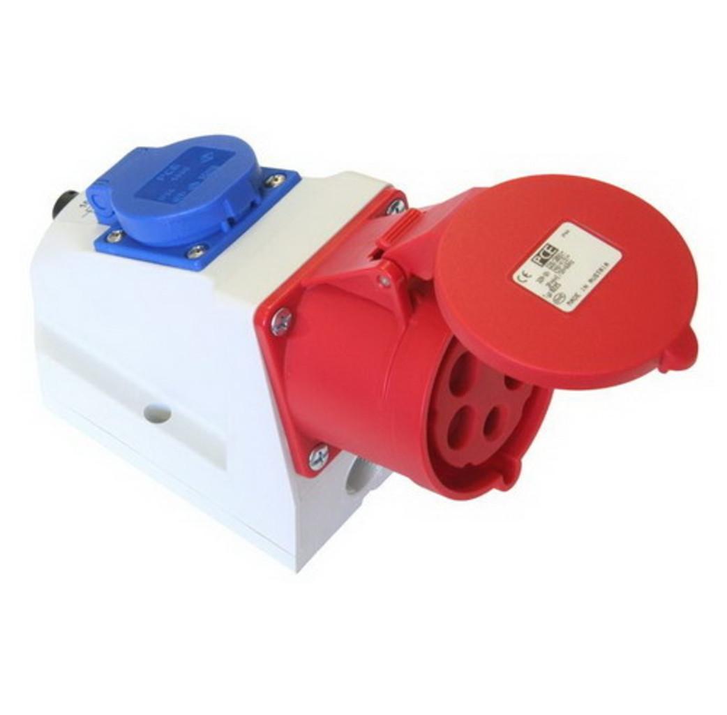 ABL ABL CEE Combo wandcontactdoos 16A 5-Polig + 230V - rood - D51S331