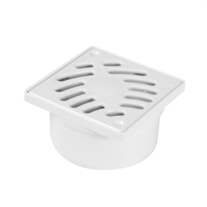 Nicoll Nicoll PVC Douchesifon wit met vaste rand en rooster - verticale inwendige uitlaat - 100x100 mm
