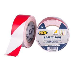 HPX tapes HPX Safety tape - zelfklevende markeringstape - rood/wit - 50mm x 33 meter