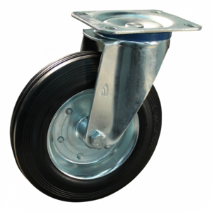 Protempo Zwenkwiel 200 mm met plaat - serie 02-12 - staal verzinkt - rubber