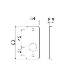 Ami deurbeslag Ami Afdekrozet sleutelgat tbv kastslot - geperst aluminium - RZ SLG AF - 1