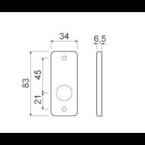 Ami deurbeslag Ami Afdekrozet profielcilinder tbv kastslot - geperst aluminium - RZ PC AF - 1
