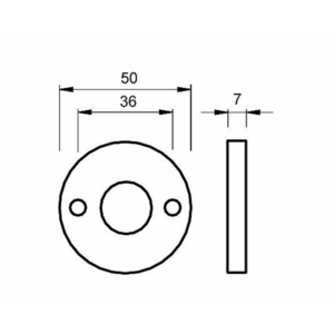 Ami deurbeslag Ami Afdekrozet tbv WC badkamerslot - geperst aluminium - RZ RO WC AF - 1