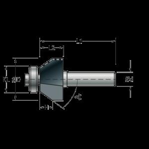 Stehle Stehle Hardmetalen Fasefrees met aanlooplager 15° - Ø25,4 x 68 mm - 58512033