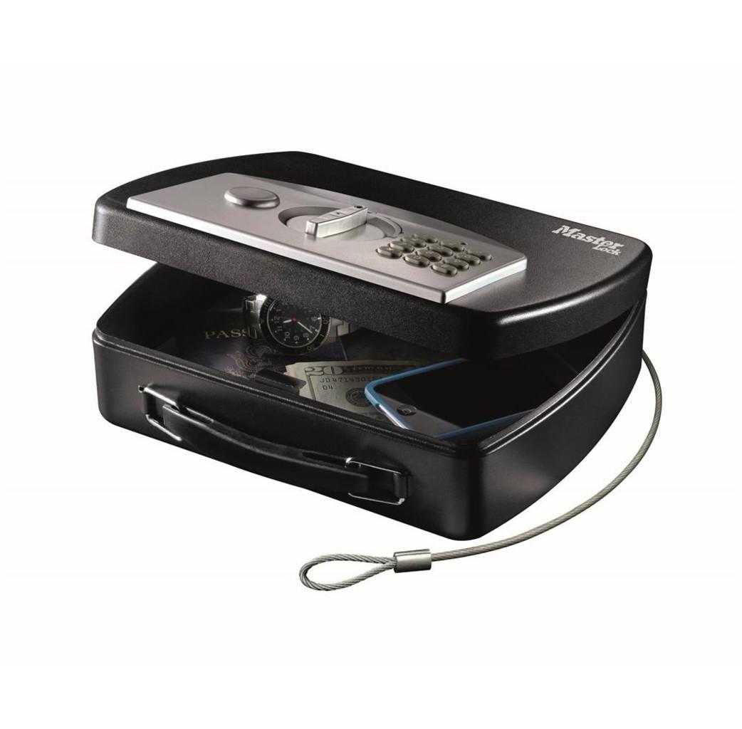 MasterLock Masterlock P008EML Draagbare kluis met kabel - digitale combinatieslot - zwart