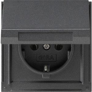 Gira Gira 045467 TX44 Wandcontactdoos met randaarde en klapdeksel - spatwaterdicht - antraciet