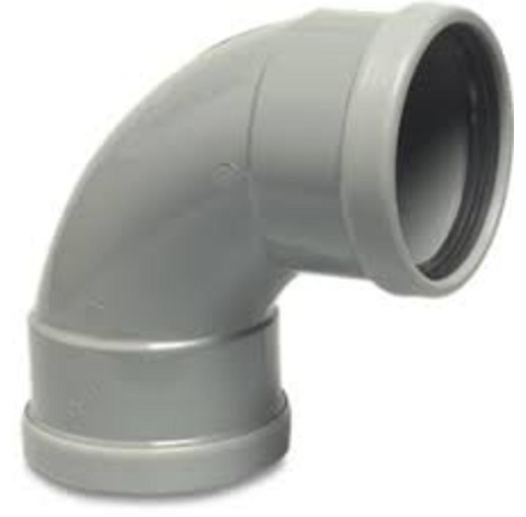 PVC-U bocht 87° - Ø110 t/m Ø315 mm - SN4, KOMO/BENOR - 2x manchet