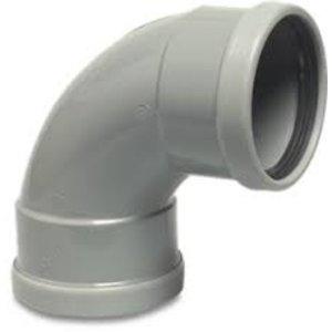 PVC-U bocht 87° - Ø110 t/m Ø315 mm - SN4, KOMO/BENOR - 2x manchet - 0