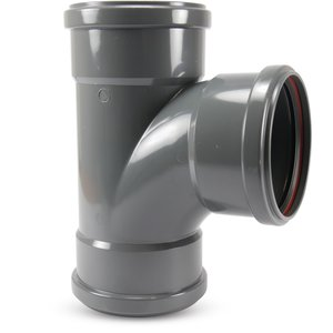 PVC-U T-stuk 87° - Ø110 t/m Ø315 mm - SN4, KOMO/BENOR - 3x manchet