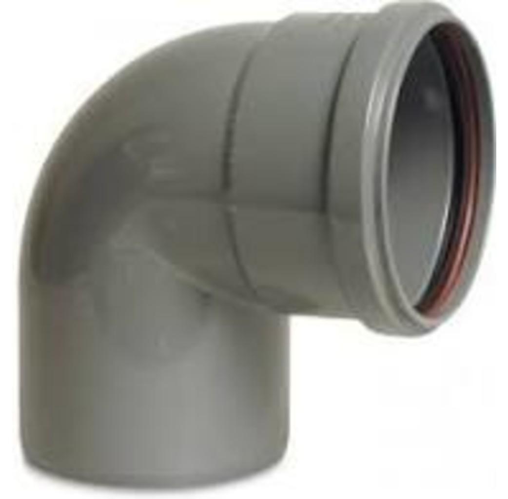 PVC-U bocht 87° - Ø110 t/m Ø200 mm - SN4, KOMO/BENOR - 1x manchet
