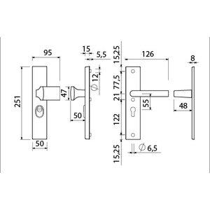 Ami deurbeslag Ami Voordeurgarnituur compleet recht - PC55 - SKG***® - zwart - VHB 55 RH BE - 1