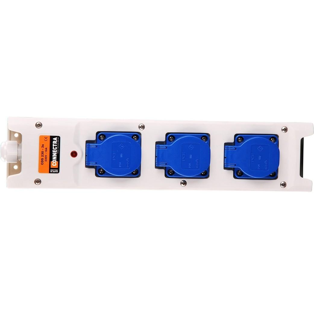 Connectra Connectra Contactblok nylon 3-voudig met kabel - 10 meter 3x1,5 mm² - H07RN-F neopreen