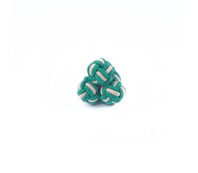 Manschettenknoten aus Seide in Grün und Weiß