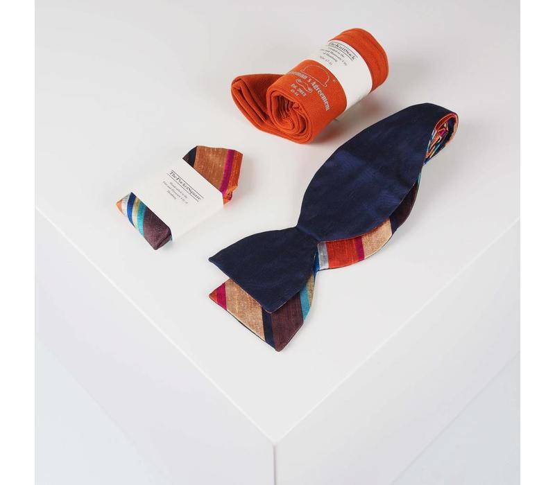 Accessoire-Set - Einstecktuch, Fliege, Socke - Dunkelblau/Orange